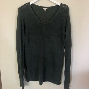BP Nordstrom Green Knit V Neck Sweater